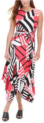 Calvin Klein Printed Belted Dress