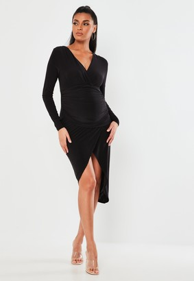 Missguided Black Ruched Wrap Maternity Midi Dress