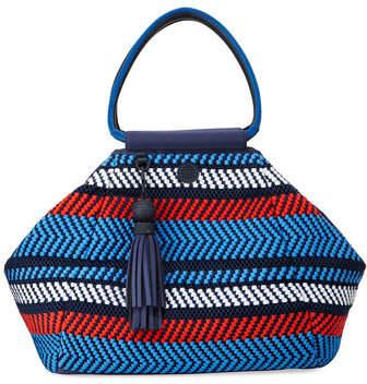 Tory Sport Woven Mesh Triangle Satchel Bag, Multi