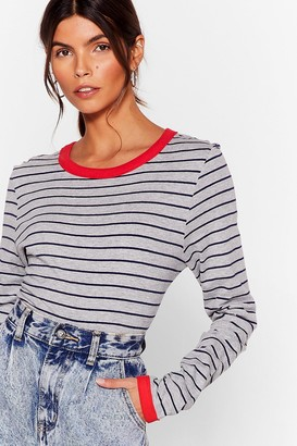 Nasty Gal Womens We're Doin' Just Line Striped Ringer Top - Grey - S