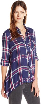 Seven7 Women's Plaid Button Down Shirt with One Pocket