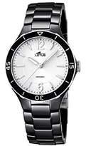 Lotus Women's Quartz Watch with White Dial Analogue Display and Black Ceramic Bracelet 15931/3