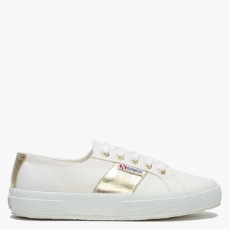 Superga 2750 Cotcotmetw White Gold Canvas Lace Up Trainers