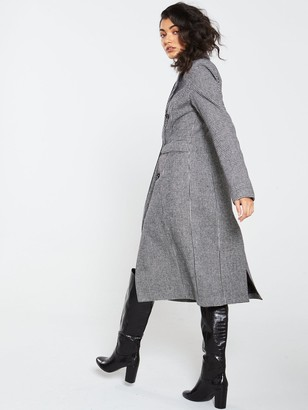 Very Statement Dogtooth Coat - Black White