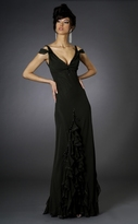 Janique - Unique Evening Gown with Ruffle Inserts J026