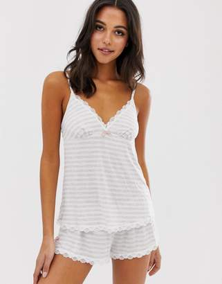 Dorina Romy Striped Cami Pyjama Top-Grey