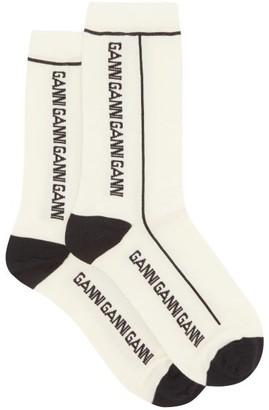 Ganni Logo-jacquard Merino Wool-blend Socks - Cream
