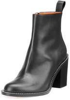 Givenchy Ann Chain-Trimmed Leather Ankle Boot, Black
