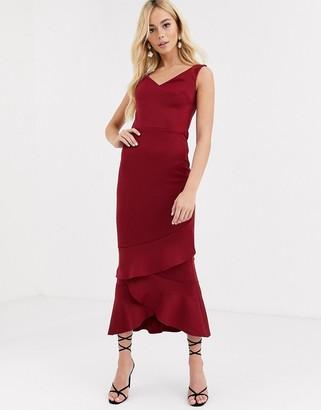 True Violet Bardot Midaxi Dress With Frill Hem-Red