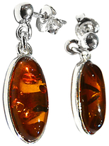 Goldmajor Amber And Sterling Silver Drop Earrings, Silver