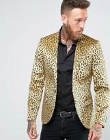 Noose & Monkey Super Skinny Leopard Print Velvet Blazer