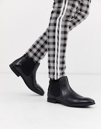 Ben Sherman leather chelsea boot in black
