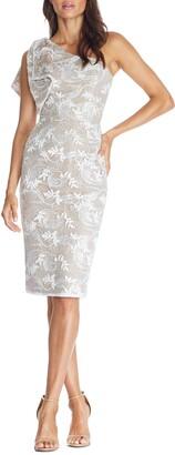 Dress the Population Thalia One-Shoulder Floral Lace Dress