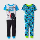 Star Wars Toddler Boys' 4pc Cotton Pajama Set - Blue/Black