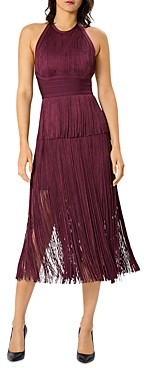 Herve Leger Fringed Skirt Halter Dress