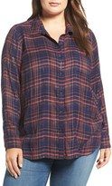 Lucky Brand Plus Size Women's Back Overlay Plaid Shirt