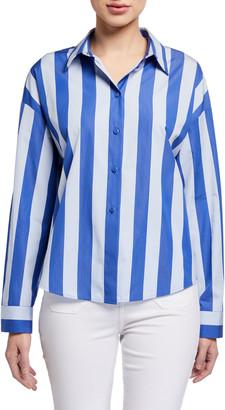 Emporio Armani Wide Stripe Button-Front Cotton Poplin Tunic
