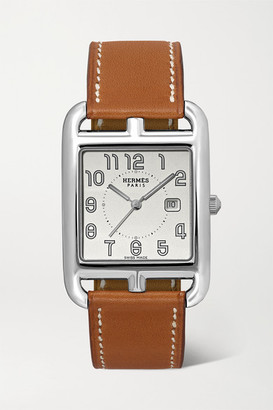 HERMÈS TIMEPIECES Cape Cod 29mm Large Stainless Steel And Leather Watch - Silver