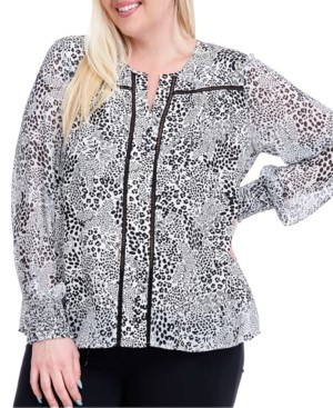 Fever Plus Size Printed Crochet-Trim Blouse