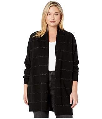 MICHAEL Michael Kors Plus Size Tinsel Stripe Long Cardigan (Black) Women's Clothing