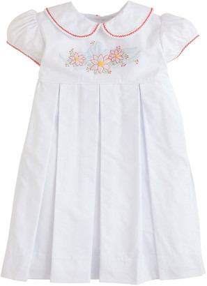 Little English Girl's Charlotte Embroidered Poinsettia Dress, Size 6M-4T