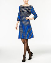 NY Collection Printed Fit & Flare Sweater Dress