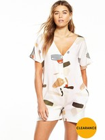 NATIVE YOUTH Organic Displacement Button Back Romper