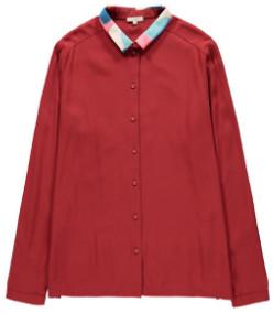 Tinsels - Holly Elegant Long Sleeves Mesh Printed Collar Carmin Shirt - 36 - Red