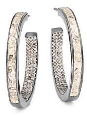 Shana Gulati Women's Aubrey Sterling Silver, Sliced Uncut Diamond & Pavé Champagne Diamond Hoop Earrings