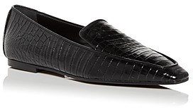 Marion Parke Women's Caroline Croc Embossed Square Toe Smoking Slippers