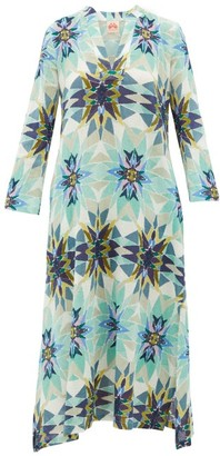 Le Sirenuse Le Sirenuse, Positano - Giada Diamond-print Cotton Midi Dress - Womens - Blue Print
