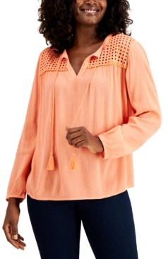 Charter Club Petite Linen Peasant Top, Created for Macy's