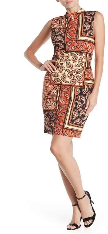 Sharagano Mock Neck Leopard Print Sleeveless Dress