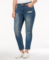 Rampage Trendy Plus Size Chloe Ripped Long Beach Wash Skinny Jeans