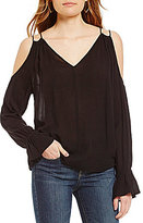 Jessica Simpson Lexa Cold-Shoulder V-Neck Ruffle Peasant Top