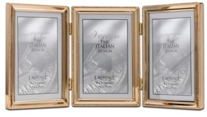 "Lawrence Frames Polished Metal Hinged Triple Picture Frame - Bead Border Design, 4"" x 6"""