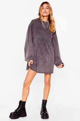 Nasty Gal Womens Wash Out for 'Em Puff Sleeve Sweatshirt Dress - Black