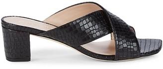 Stuart Weitzman Aletha Embossed Leather Heeled Sandals