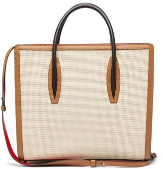 Christian Louboutin Paloma Large Canvas And Leather Tote Bag - Ivory Multi