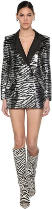 Giuseppe di Morabito Zebra Sequined Jacket Dress