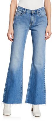 Current/Elliott The Wray Mid-Rise Wide-Leg Jeans - Raw Hem