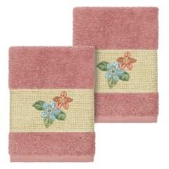 Linum Home Caroline 2-Pc. Embroidered Turkish Cotton Washcloth Set Bedding