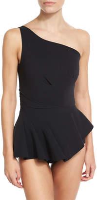 Chiara Boni Astrea One-Shoulder Swimdress, Black