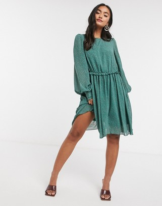 Y.A.S mini dress in green abstract polka dot