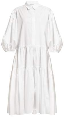 Cecilie Bahnsen - Amy Tiered Cotton-poplin Shirt Dress - Womens - White