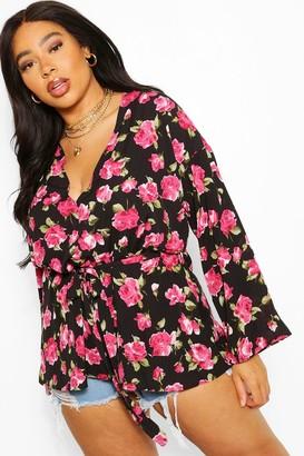 boohoo Plus Floral Plunge Kimono Sleeve Tie Waist Top