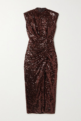 In The Mood For Love Rhea Gathered Sequined Tulle Midi Dress - Burgundy