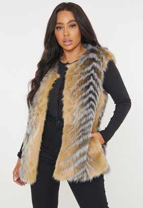 Missguided Plus Size Premium Brown Faux Fur Gilet