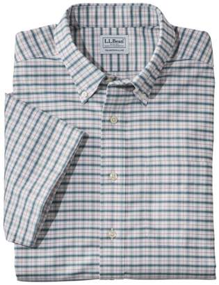 L.L. Bean Men's Wrinkle-Free Classic Oxford Cloth Shirt, Short-Sleeve Plaid