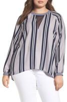 Melissa McCarthy Plus Size Women's Stripe Raglan Blouse